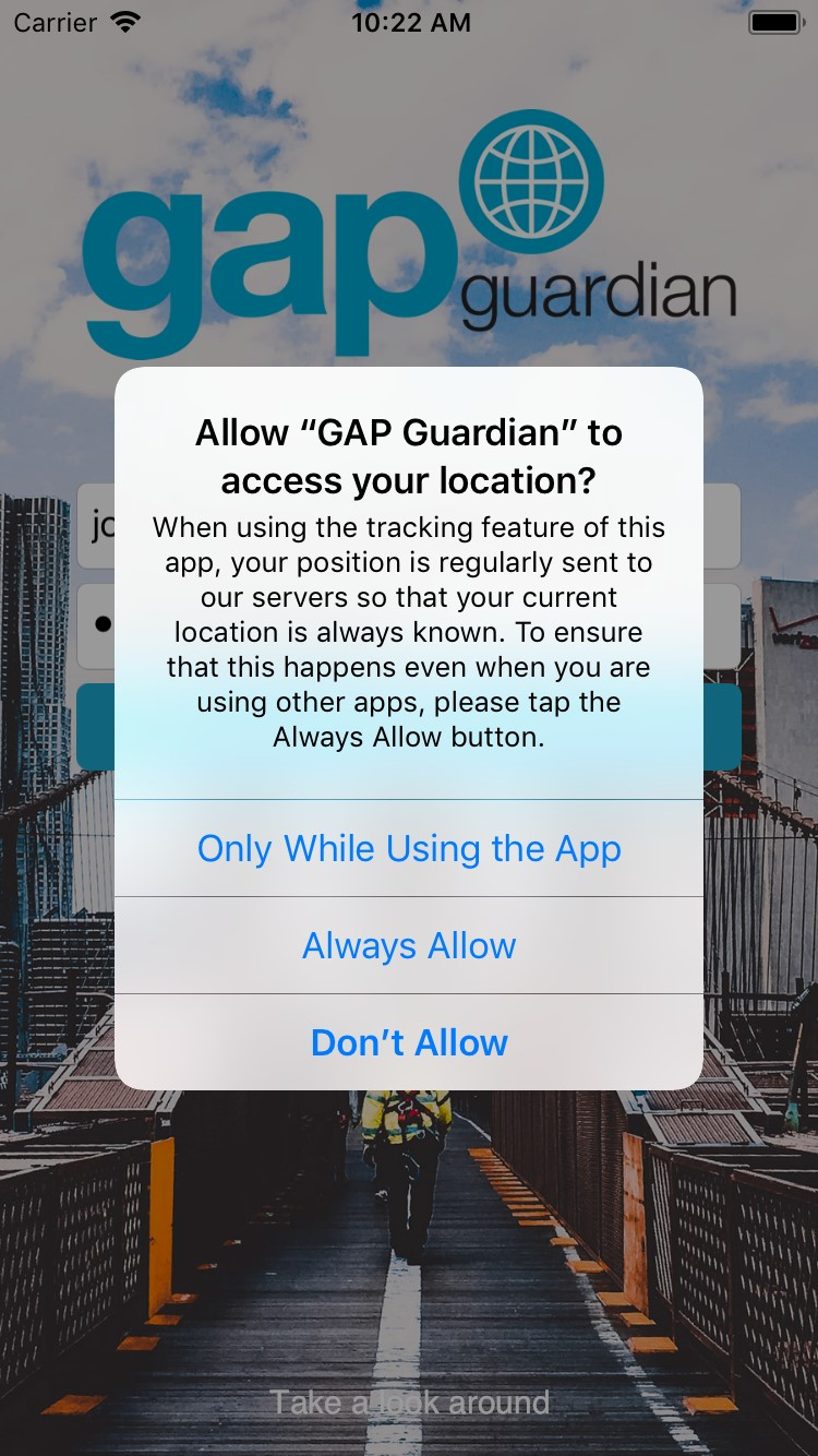 Location Services prompt