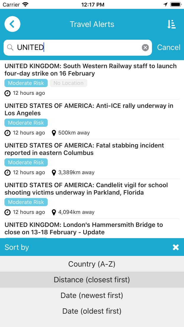 Travel Alerts list view search
