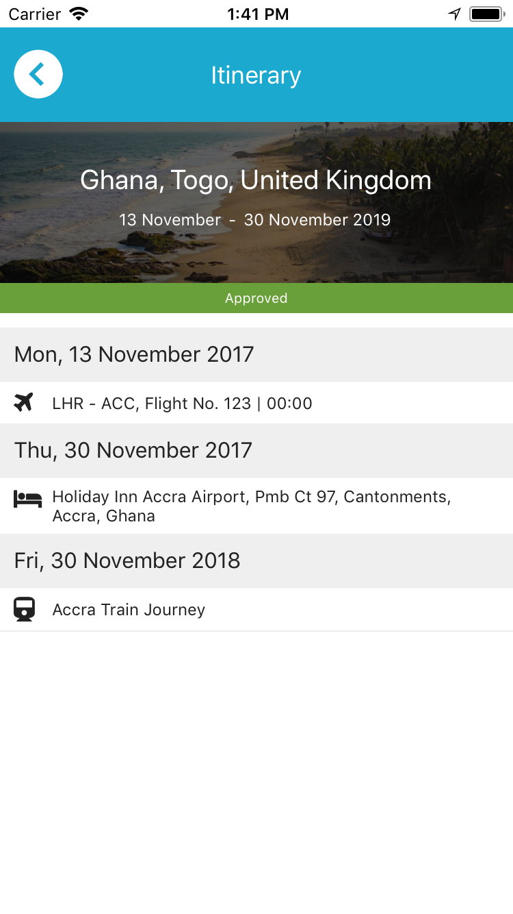 Itinerary detail view